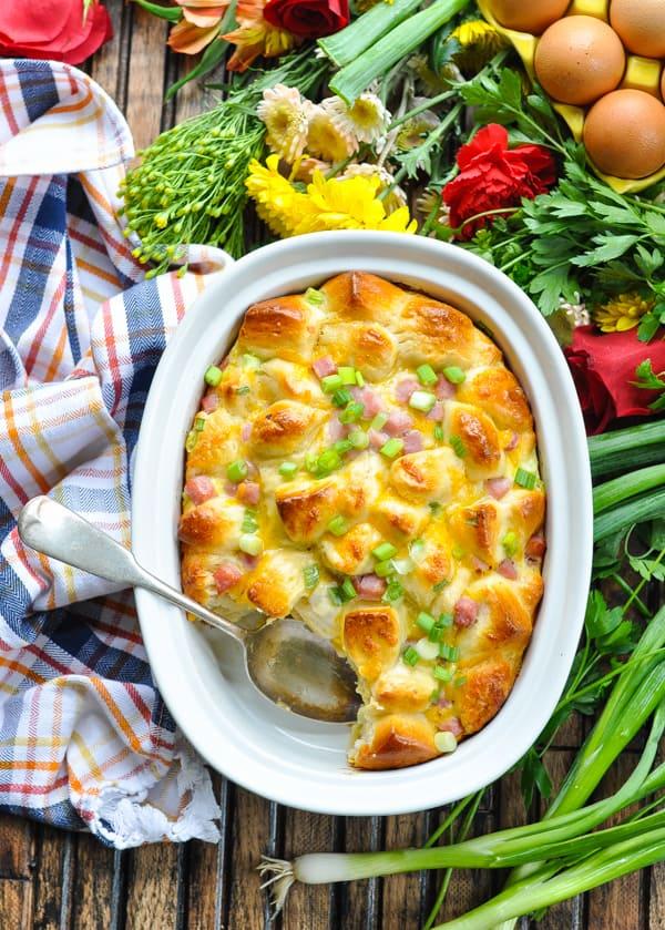 Overnight Ham Egg Cheese Monkey Bread brunch casserole overhead image