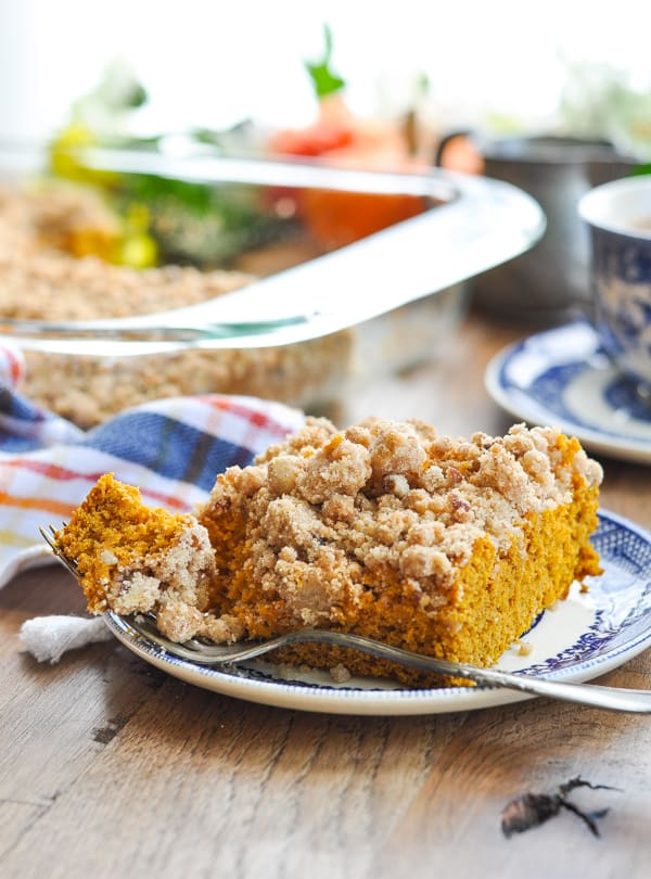 Pumpkin coffee cake with a fork and bite taken out