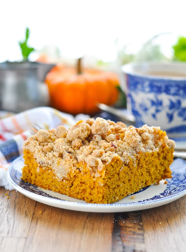 Slice of easy pumpkin coffee cake with cake mix on a plate
