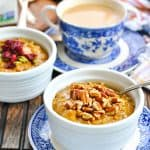 Pumpkin Spice Slow Cooker Oatmeal for a crowd with text overlay