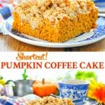 Long collage image of a Pumpkin Coffee Cake that starts with a cake mix