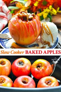Long collage image of Slow Cooker Baked Apples