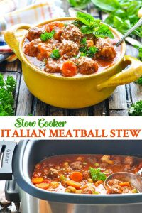 Long collage image of Slow Cooker Italian Meatball Stew