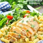 Southern Baked Chicken Parmesan dinner with text overlay on image