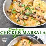Long collage of 20-Minute Easy Chicken Marsala recipe