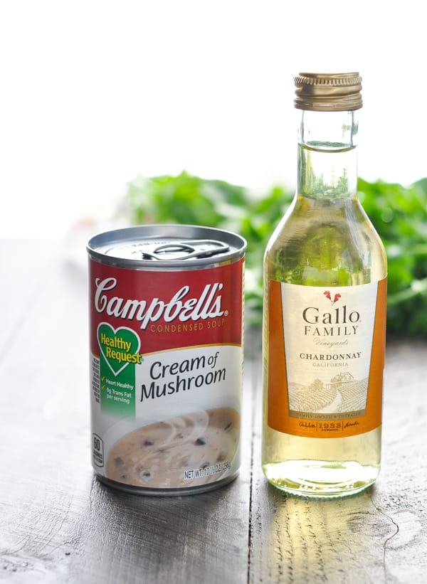 Ingredients for creamy mushroom sauce