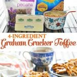 Long collage image of 4 ingredient graham cracker toffee