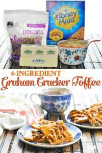 Long collage image of 4 ingredient graham cracker toffee