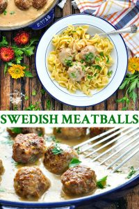 Long collage of Swedish Meatballs recipe