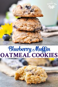 Long collage of Blueberry Muffin Easy Oatmeal Cookies