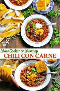 Long collage image of Chili Con Carne