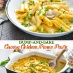Long collage of easy Dump and Bake Chicken Penne Pasta Recipe