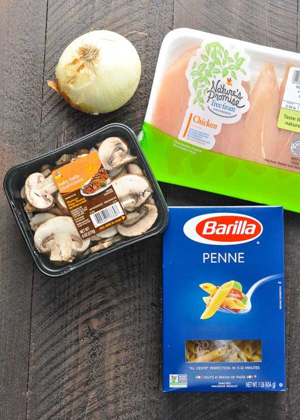 Chicken and other ingredients for baked penne pasta