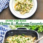 Long collage of Dump and Bake Chicken and Mushroom Casserole
