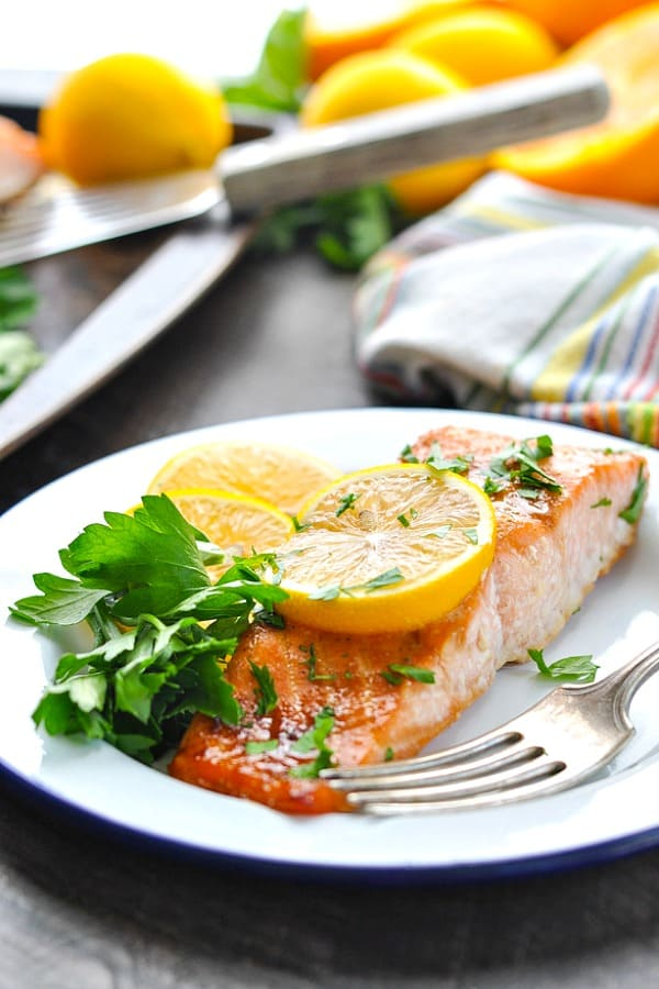 Glazed salmon fillet on a plate