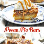 Long collage image of easy pecan pie bars
