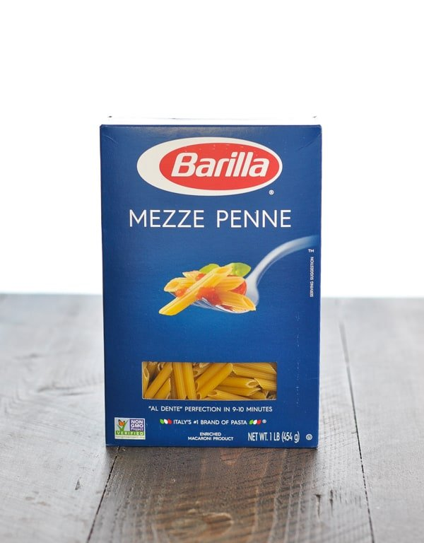 Box of mini penne pasta for shrimp alfredo