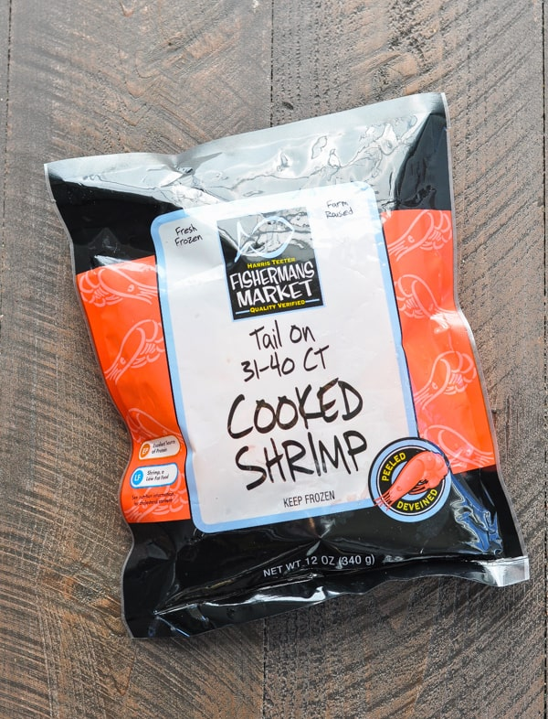 Bag of frozen cooked shrimp