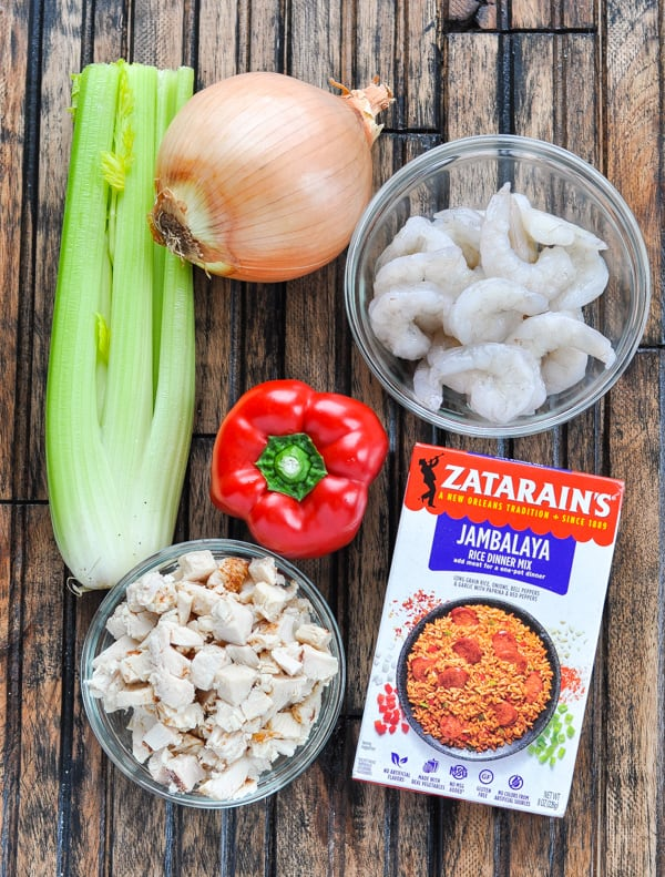Ingredients for turkey jambalaya with shrimp
