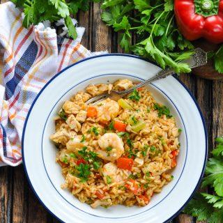 One Pot Turkey Jambalaya with Shrimp