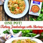 Long collage of One Pot Turkey Jambalaya with Shrimp