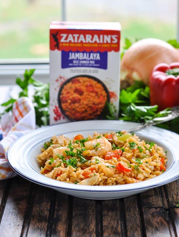 Bowl of turkey jambalaya with shrimp from a box of Zatarain's jambalaya mix
