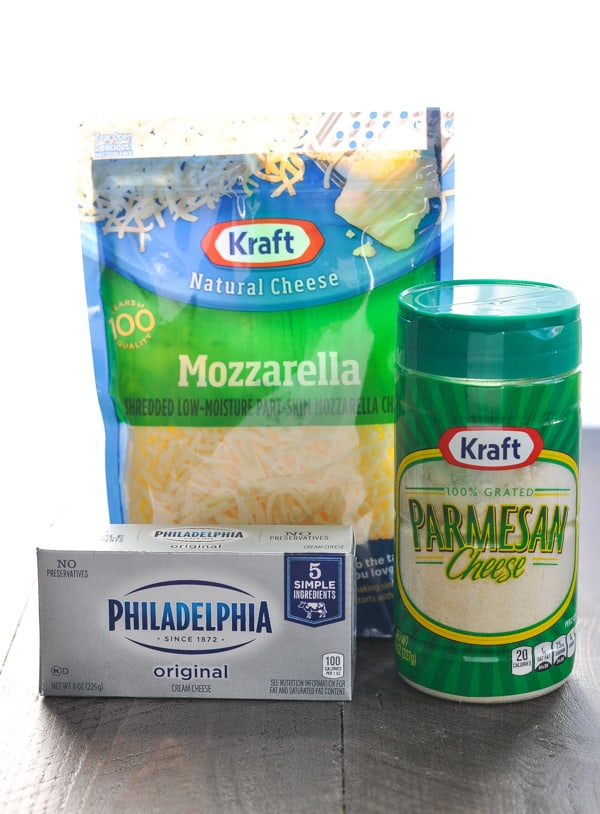 Mozzarella cream cheese and Parmesan cheese for pizza dip recipe