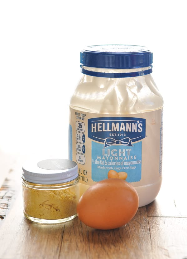 Mayonnaise egg and dry mustard for salmon patties