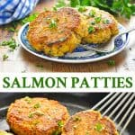 Long collage of salmon patties recipe