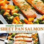 Long collage of maple glazed salmon sheet pan dinner