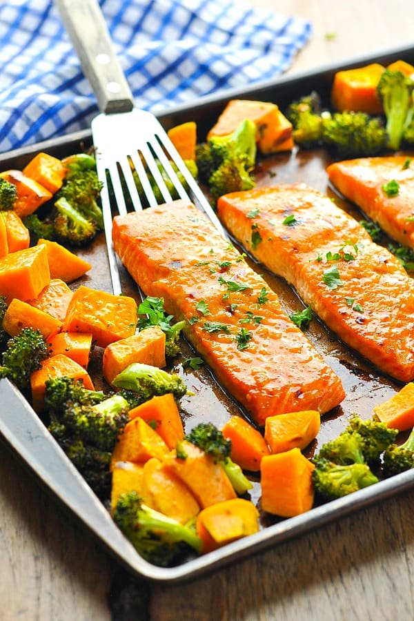 Sheet Pan Dinner with Maple Glazed Salmon, Sweet Potatoes and Broccoli