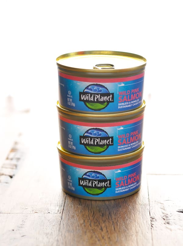 3 stacked cans of salmon for salmon patties recipe