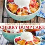 Long collage image of Cherry Dump Cake