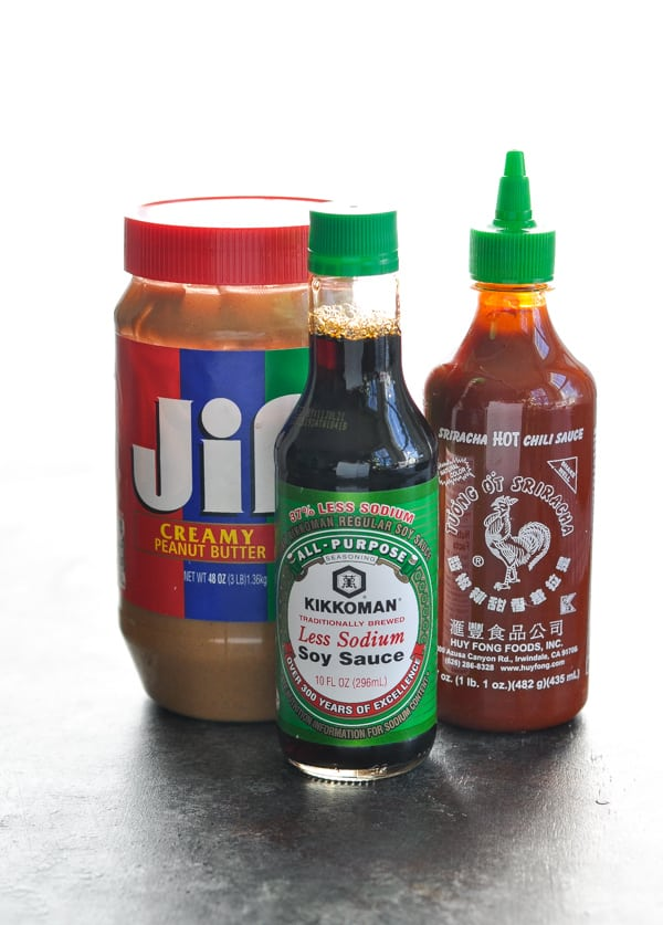 Three ingredients for peanut sauce -- peanut butter soy sauce and Srirachi hot chili sauce