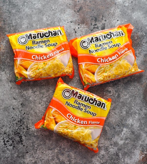 Three packages of Maruchan Chicken Flavor Ramen Noodle Soup