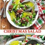 Long collage image of Christmas Salad with Champagne Vinaigrette