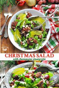 Long collage image of Christmas Salad with Champagne Vinaigrette