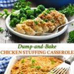 Long collage of Dump and Bake Chicken Stuffing Casserole