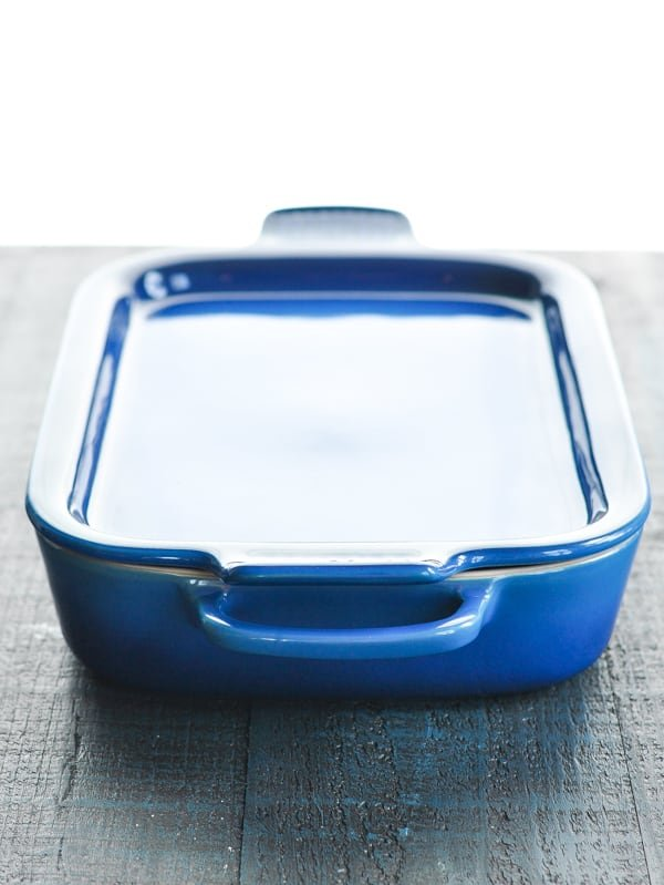Lid covering blue baking dish
