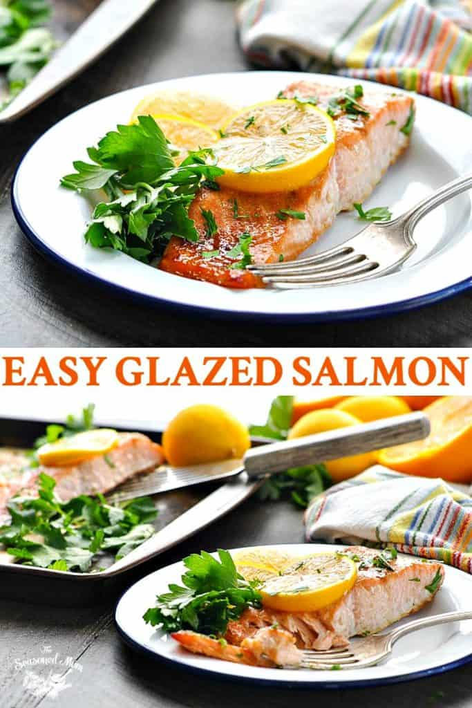 Long collage of an easy Honey Soy Glazed Salmon recipe