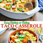 Long collage image of easy taco casserole recipe