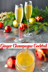 Long collage image of Ginger Champagne Cocktail