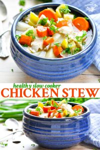 Long collage image of Healthy Slow Cooker Chicken Stew