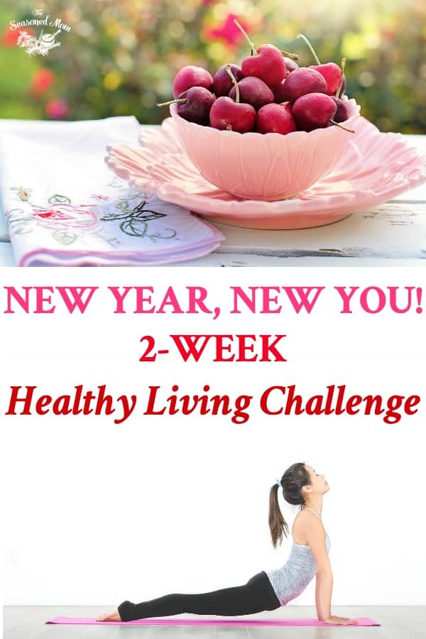Long collage of New Year New You Fitness and Healthy Eating and Lifestyle Two Week Challenge Meal Plan