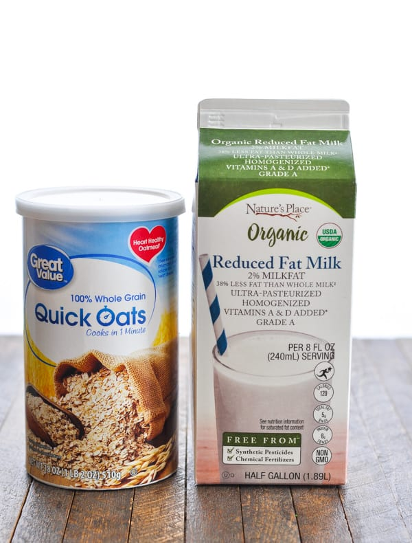 Carton of 2% milk and canister of quick oats