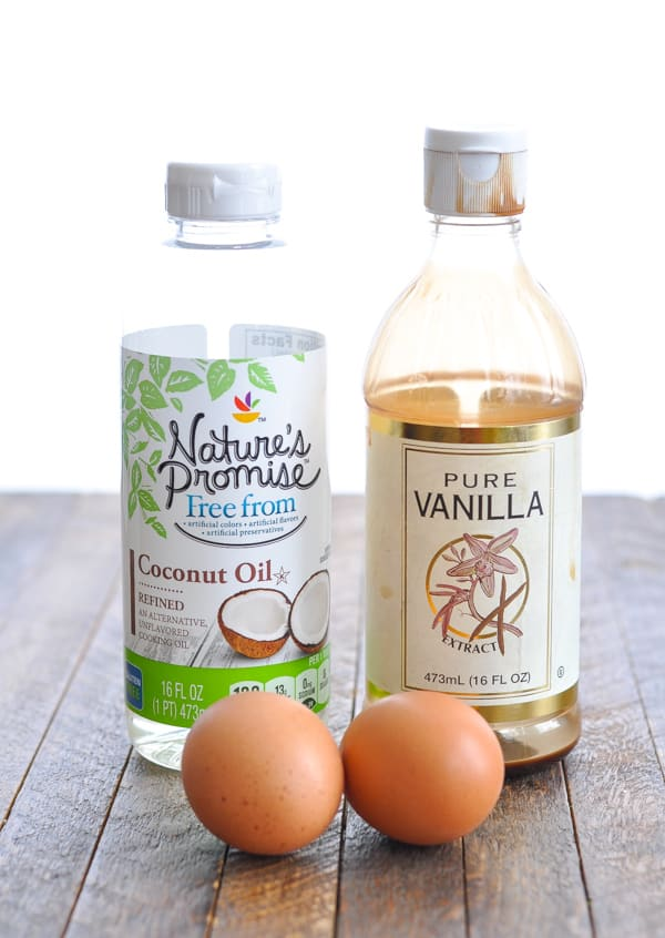 Coconut oil vanilla extract and eggs for oatmeal pancakes