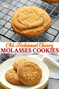 Long collage image of Old Fashioned Chewy Molasses Cookies