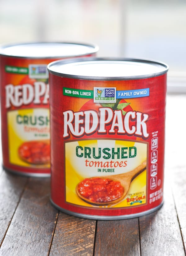Cans of Redpack crushed tomatoes