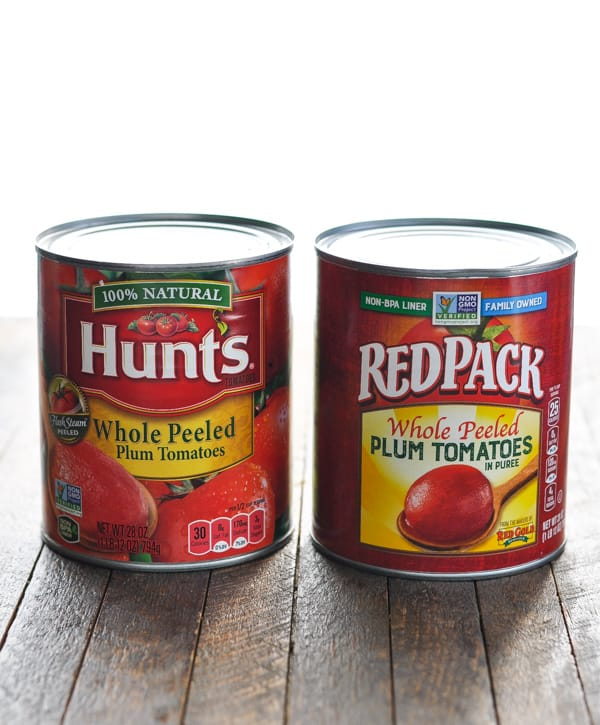 Two cans of whole peeled tomatoes