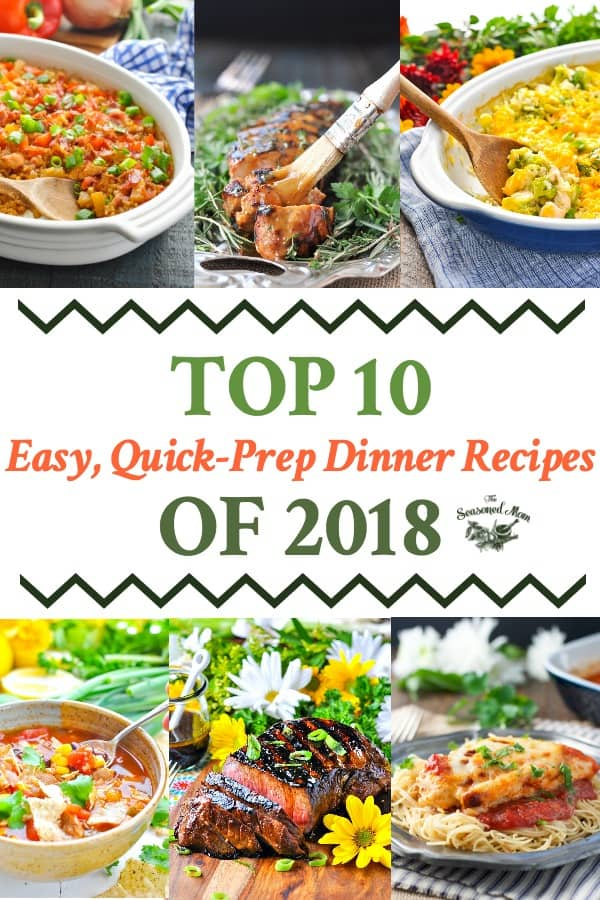 Long collage of Top 10 Easy dinner recipes from 2018